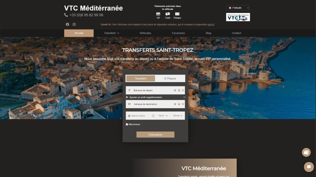 site réalisation client VTC méditérranée